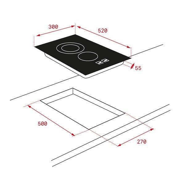 Kích thước bếp hồng ngoại Teka TR 3220
