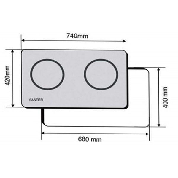 Kích thước bếp điện từ Faster FS 628HI Malaysia