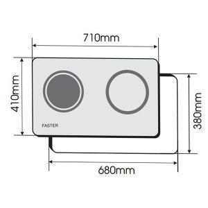 Kích thước bếp điện từ Faster FS 788 HI Malaysia