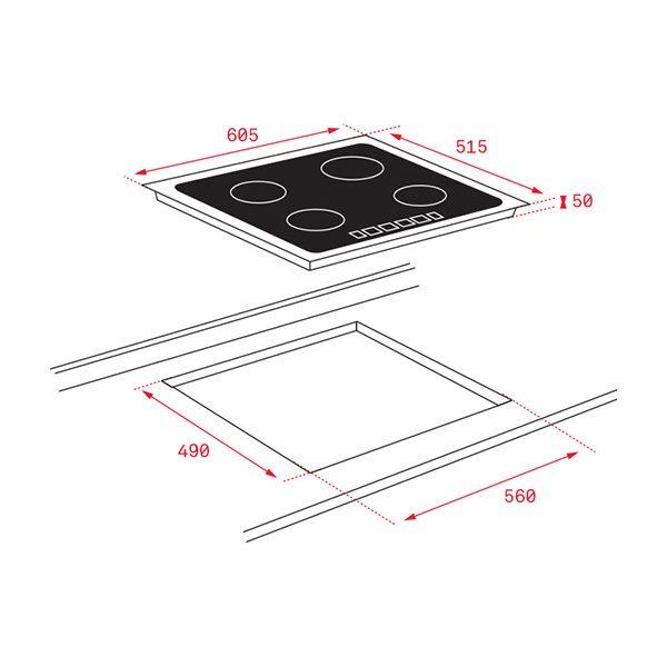 Kích thước bếp từ Teka IZ 6320 White