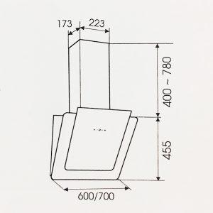 Kích thước máy hút mùi Faster FS 3689B kính trắng