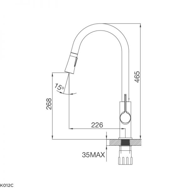 Kích thước vòi rửa bát Malloca K012C