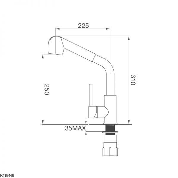 Kích thước vòi rửa bát Malloca K119-N9