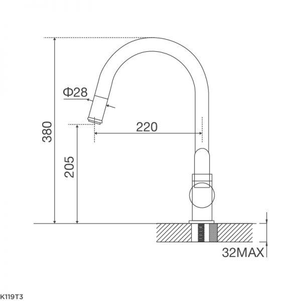 Kích thước vòi rửa bát Malloca K119T3
