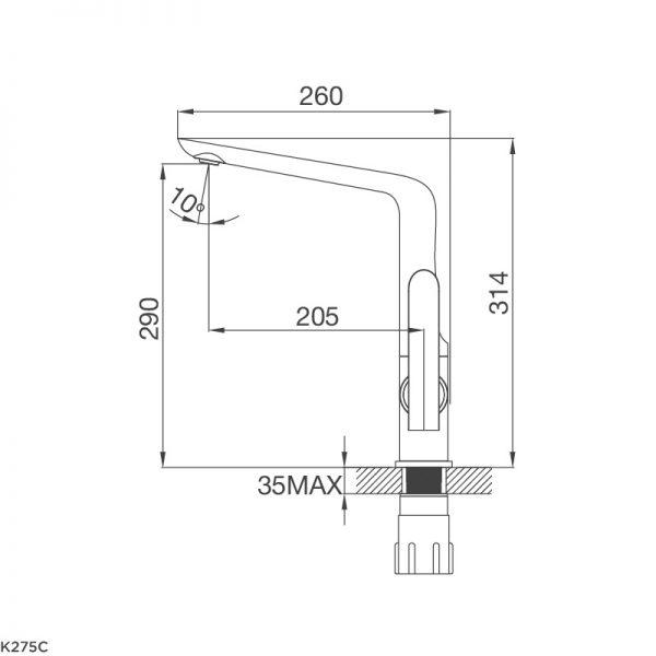 Kích thước vòi rửa bát Malloca K275C