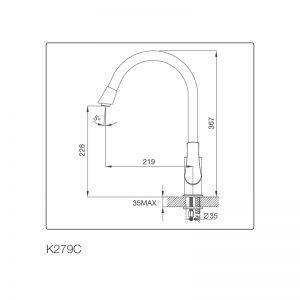 Kích thước vòi rửa bát Malloca K279C