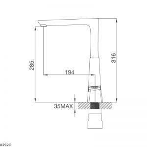 Kích thước vòi rửa bát Malloca K292C