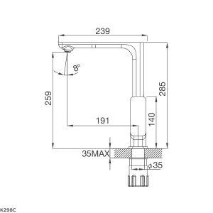 Kích thước vòi rửa bát Malloca K298C