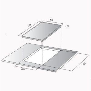 Kích thước bếp từ domino Kocher DI-521