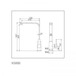Kích thước vòi rửa bát Malloca K589-S