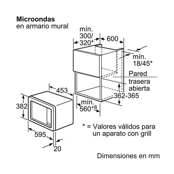 Kích thước lò vi sóng Bosch HMT72G650