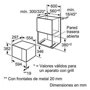 Kích thước lò vi sóng Bosch HMT75M624