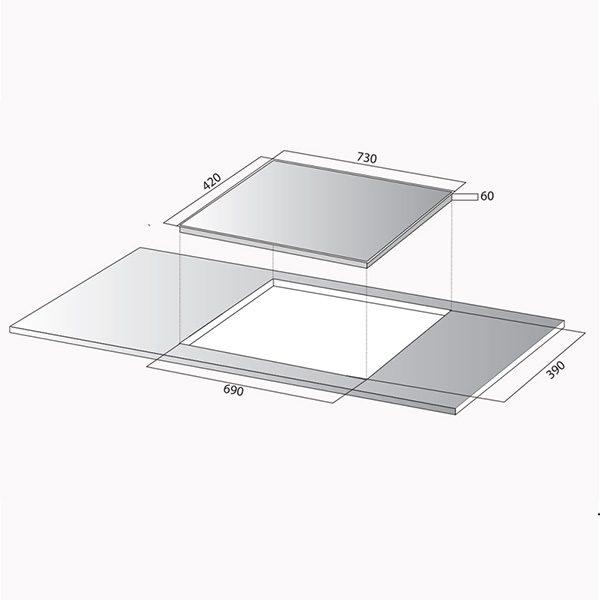 Kích thước bếp từ Kocher DI-833GE
