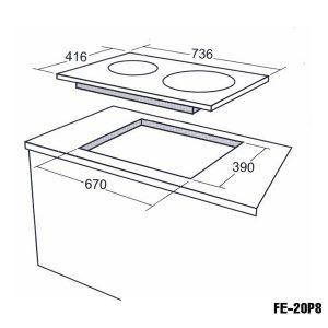 Kích thước bếp từ Feuer FE-20P8