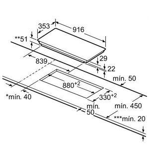 Kích thước bếp từ Bosch PXC275FC1E