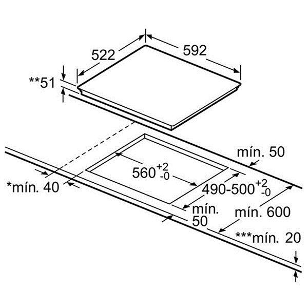 Kích thước bếp từ Bosch PIJ651FC1E
