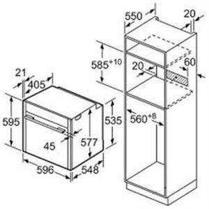 Kích thước lò nướng Bosch HBG634HS1