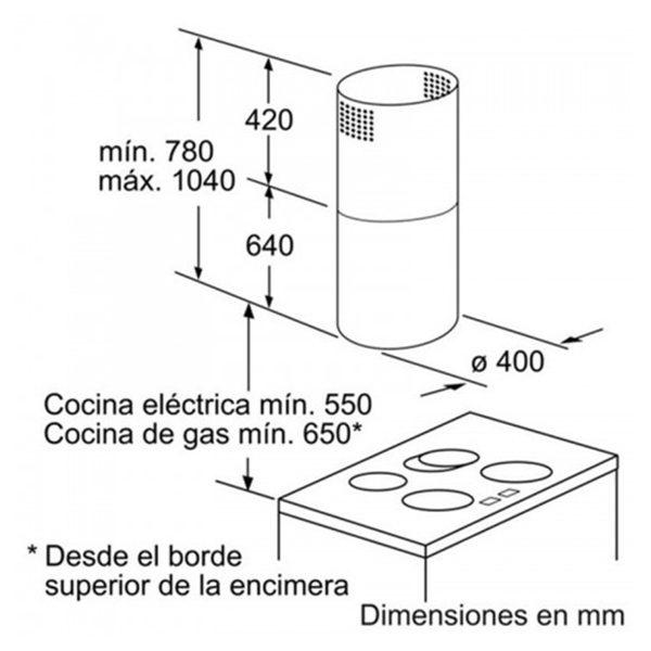 Kích thước máy hút mùi Bosch DIC043650
