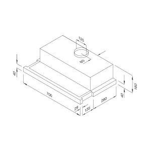 Kích thước máy hút mùi Malloca H205.7-WG