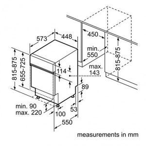 Kích thước máy rửa bát Bosch SPI50E15EU