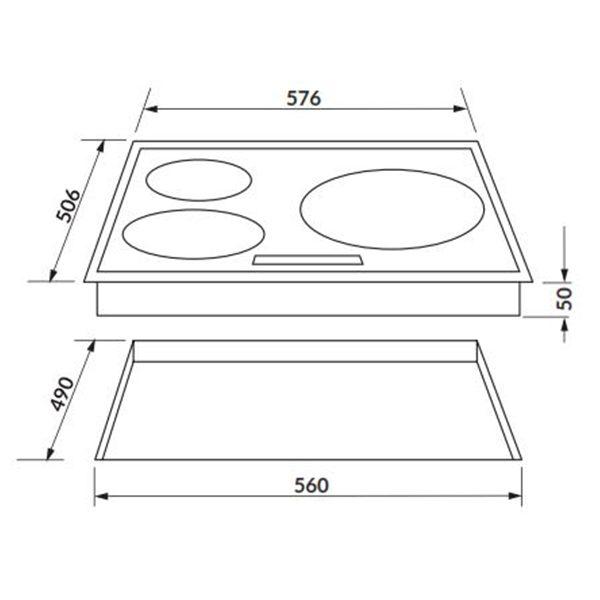 Kích thước bếp hồng ngoại Rosieres RVEF633IN