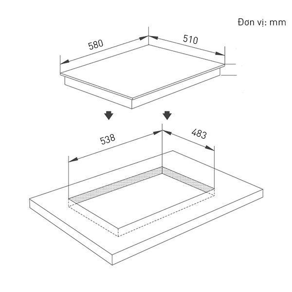 Kích thước bếp từ Elmich ICE-3493
